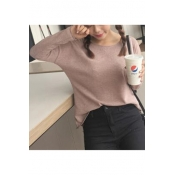 Women's Loose Casual Solid Color Long Sleeve Round Neck Sweater