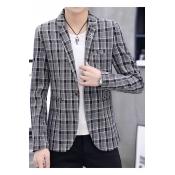 Men's Slim-Fit Single Button Long Sleeve Notch Lapel Plaid Wedding Suits for Groom