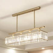 Rectangle Living Room Chandelier Metal 4 Lights Vintage Chandelier Light with Clear Crystal in Black/Gold