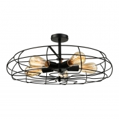 Loft Industry Wrought Iron Fan Close to Ceiling Light 5 Light Black Semi Flush Light in Cage Shade