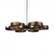 6 Light Petal Semi Flush Ceiling Light in Rust/Bronze Vintage Ceiling Light for Living Room