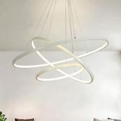 Contemporary Aluminum Halo Led Chandelier LED Warm White Light 1 Tier-5 Tier Multi Light Pendant Lighting in White for Foyer Hotel Dining Room