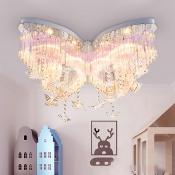 Butterfly LED Chandelier Girls Bedroom Hanging Crystal Flush Mount Light in White