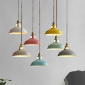 Industrial Hanging Pendant Light with Colorful Barn Shade 1 Light Pendant for Dining Table Restaurant Kitchen-White/Black/Blue/Green/Grey/Pink/Yellow