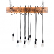 Industrial Style Bare Bulb Island Lighting10-Light Wood and Rope Linear Hanging Lamp in Antique Brass/Black