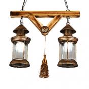 Antique Bronze Lantern Island Light with Tassel Industrial Metal 2 Lights Hanging Light for Corridor
