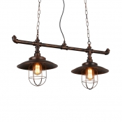 Antique Style Island Fixture with Saucer Shade and Iron Wire 2 Lights Metal Hanging Light for Kitchen