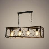 4 Lights Rectangle Hanging Light Vintage Style Metal Island Pendant in Black for Dining Room