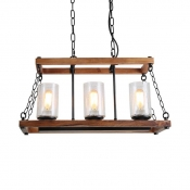 3 Lights Cylinder Island Pendant Light Wood and Clear Seeded Glass Rustic Island Lighting for Kitchen