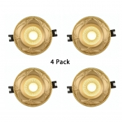 (4 Pack)3-3.5 Inch Brass Recessed Light Elegant Wireless LED Ceiling Light Recessed in White/Warm for Hotel Restaurant