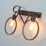 2 Lights Bicycle Wall Sconce Light Vintage Metal Wall Light in Rustic Copper for Coffee Shop