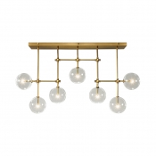 Globe Shade Ceiling Light 7 Lights Creative Metal Clear Glass Island Light in Gold for Living Room