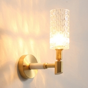 Contemporary Cylinder Shade Wall Sconce Glass Metal 1 Light Brass Wall Light for Bedroom