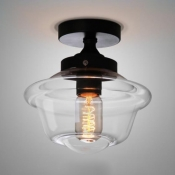 Schoolhouse Outdoor Semi Flush Mount Clear Glass 1-Light Classic Semi Flush Light for Foyer