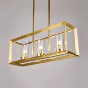 Living Room Kitchen Rectangle Hanging Light Metal Glass 3/4/5 Lights Creative Gold Island Light