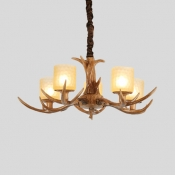 Height Adjustable Antlers Chandelier 4/6/8/12 Lights Antique Style Hanging Light with Cylinder Shade