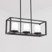 Black Rectangle Pendant Lighting 3/5/6 Lights Vintage Style Metal and Glass Island Light for Kitchen