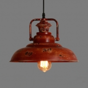Industrial Barn Hanging Ceiling Light Single Light Distressed Metal Pendant Lighting in Red