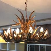 Rustic Style Deer Horn Chandelier 9 Lights Resin Hanging Light for Dining Room Living Room