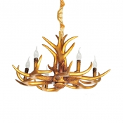 Resin Deer Horn Chandelier Dining Room Living Room 6 Lights Vintage Style Pendant Light in Gold