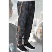 Striped Side Camo Print Drawstring Waist Sport Grey Track Pants