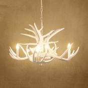 Antique Style Antlers Chandelier Resin 4/6/9 Lights White Hanging Light for Foyer Dining Room