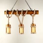 3 Lights Cylinder Hanging Lighting Vintage Style Bamboo and Rope Island Pendant for Restaurant Bar