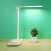 White Eye-Caring LED Desk Light Energy Saving Rotatable Foldable Study Light with Plug in Cord/USB Charging Port