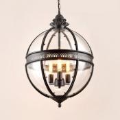 Industrial Globe Pendant Light Metal and Glass 3 Lights Black Hanging Pendant for Living Room