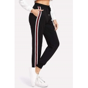 Women's Trendy Stripe Side Drawstring Waist Sport Relaxed Jogger Pants