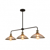Industrial Conical Island Light 3 Lights Metal Ceiling Light in Antique Brass/Copper for Kitchen