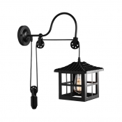Pulley Wall Lighting Restaurant One Light Industrial Metal Sconce Light with Black House Shape