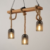 Metal and Wood Island Light 3/5 Lights Vintage Style Pendant Lighting for Restaurant Coffee Shop