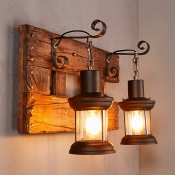 Wooden Base Sconce Light with Lantern 2 Lights Rustic Wall Light in Black for Bar