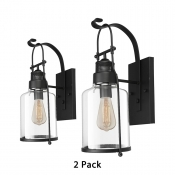 2 Pack 1 Light Sconce Light Vintage Style Metal and Glass Wall Light in Black for Kitchen Bathroom