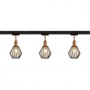 Antique Wire Frame Ceiling Light 3/4 Lights Metal LED Track Lighting in Black for Restaurant