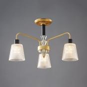 Traditional Bucket Shade Semi Flush Ceiling Light 3/5 Lights Lattice Glass Ceiling Light in Gold for Foyer