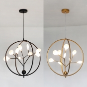 Creative Black/Gold Chandelier with Plant Shape 9 Lights Metal Pendant Light for Kitchen