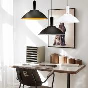 Domed Shade Office Pendant Lamp Aluminum 1 Light Modern Hanging Light in Black/Black&Yellow/White