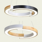 Modern 2 Half-Ring Pendant Light Wood Metal Black/White Ceiling Pendant with Black/White Lighting for Office