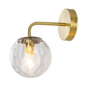 Dimple Glass Globe Wall Sconce 1 Light Modern Stylish Wall Lamp in Brass for Living Room