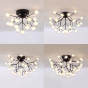Glass Modo LED Semi Flush Ceiling Light Cloth Shop 15/27/36/45 Lights Contemporary Ceiling Lamp in Black
