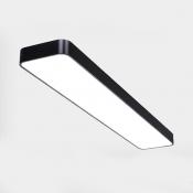 Black/White Rectangle LED Flush Mount Light 23.5/35.5/47 Inch Simple Style Ceiling Lamp for Shop