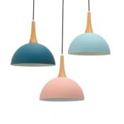 Kitchen Foyer Dome Hanging Light Metal Wood 1 Head Contemporary Macaron Pendant Lamp in Dark Blue/Light Blue/Pink