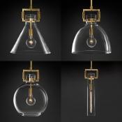 Modern Brass Ceiling Light Dome/Globe/Triangle/Tube 1 Light Clear Glass Pendant Lamp for Hallway