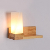 Nodic Style Wood Wall Light LED with Glass Shade and Supporter