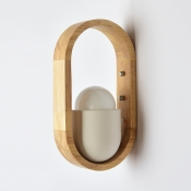 Nodic Style Led Lighting Nature Rubber Wood Wall Light in White Finish for Bedroom Hallway