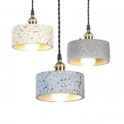Industrial Drum Shape Pendant Light 1 Light Cement Hanging Light Black/Blue/White Hanging Light for Bedroom