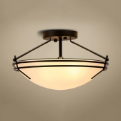 Bedroom Dome Shade Semi Flush Mount Light Frosted Glass 3 Lights American Rustic Ceiling Light