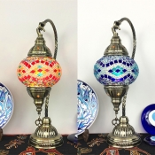 1 Light Oval Hanging Desk Light Moroccan Turkish Stained Glass Table Light in Blue/Red for Cafe
